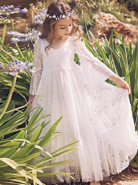 A-Line/Princess Long Sleeves V-neck Floor-Length Lace Flower Girl Dresses