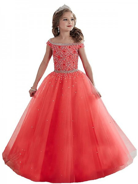 Ball Gown Sleeveless Off-the-Shoulder Beading Floor-Length Tulle Flower Girl Dresses
