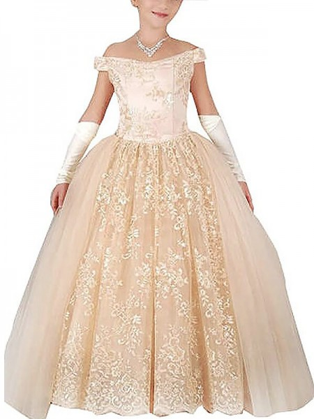 Ball Gown Sleeveless Off-the-Shoulder Applique Floor-Length Tulle Flower Girl Dresses