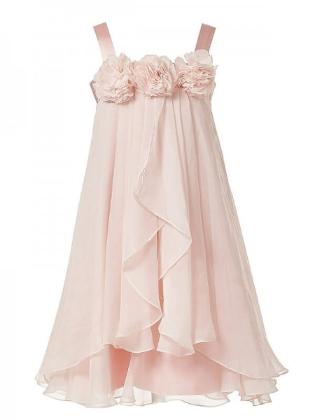 A-Line/Princess Sleeveless Straps Hand-Made Flower Floor-Length Chiffon Flower Girl Dresses