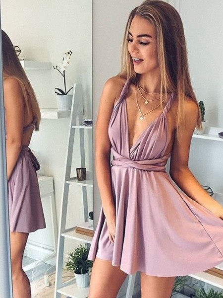 A-Line/Princess Sleeveless V-neck Short/Mini Silk like Satin Dresses