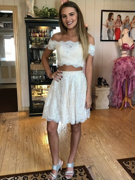 A-Line/Princess Sleeveless Off-the-Shoulder Short/Mini Lace Two Piece Dresses