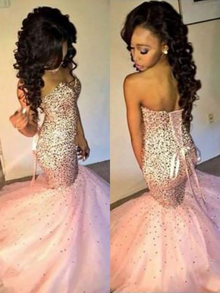 Trumpet/Mermaid Sleeveless Sweetheart Sequin Sweep/Brush Train Tulle Dresses