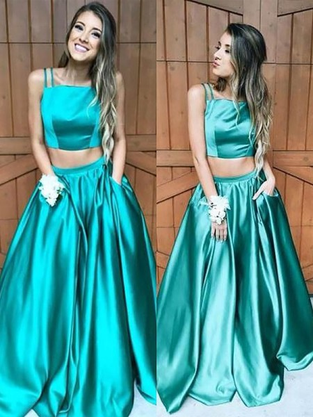 A-Line/Princess Sleeveless Square Ruffles Floor-Length Satin Two Piece Dresses