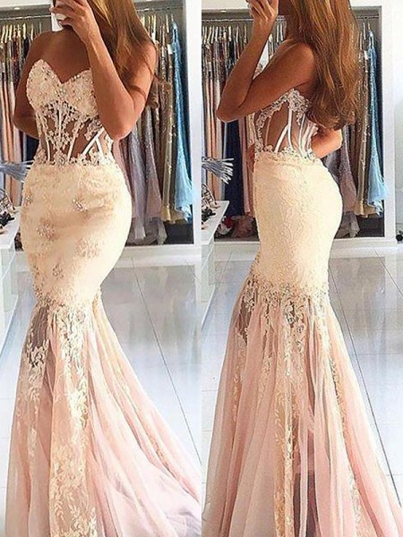Trumpet/Mermaid Sleeveless Sweetheart Lace Sweep/Brush Train Tulle Dresses