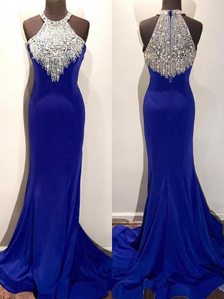 Trumpet/Mermaid Sleeveless Halter Beading Sweep/Brush Train Spandex Dresses
