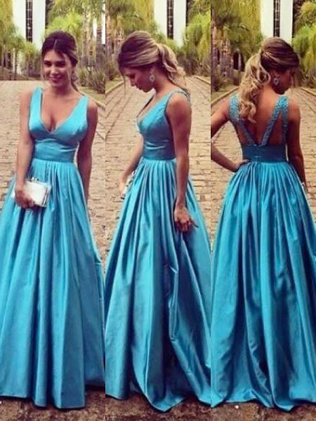 A-Line/Princess Sleeveless V-neck Ruched Floor-Length Elastic Woven Satin Dresses