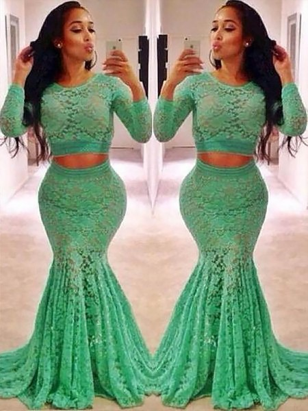 Trumpet/Mermaid Long Sleeves Scoop Ruffles Sweep/Brush Train Lace Two Piece Dresses
