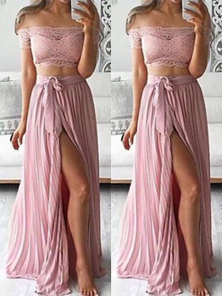 A-Line/Princess Sleeveless Off-the-Shoulder Lace Floor-Length Chiffon Two Piece Dresses
