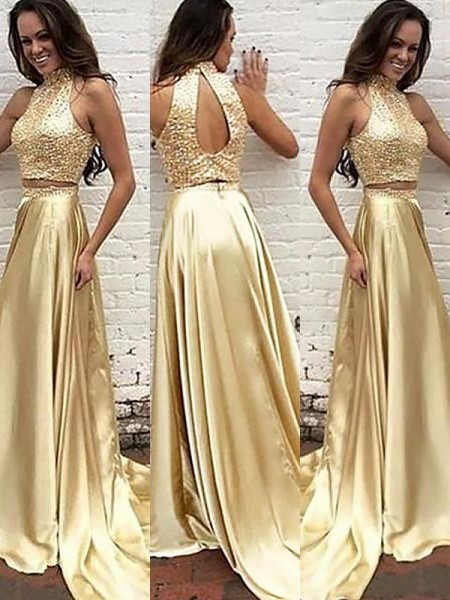 A-Line/Princess Sleeveless High Neck Beading Sweep/Brush Train Satin Two Piece Dresses