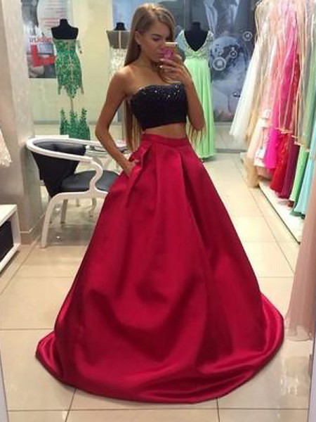 A-Line/Princess Sleeveless Strapless Beading Floor-Length Tulle Two Piece Dresses