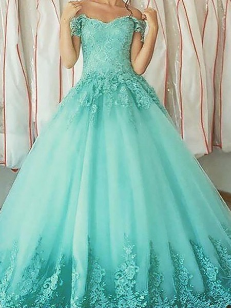 Ball Gown Sleeveless Off-the-Shoulder Applique Floor-Length Tulle Dresses