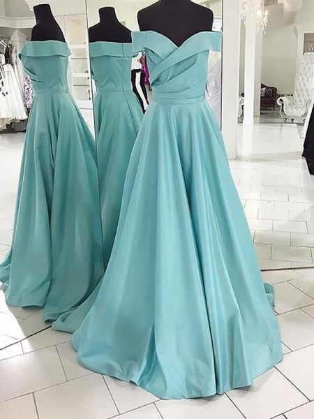 A-Line/Princess Sleeveless Off-the-Shoulder Ruched Sweep/Brush Train Satin Dresses