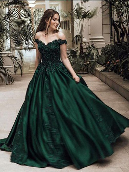Ball Gown Sleeveless Off-the-Shoulder Lace Floor-Length Satin Dresses