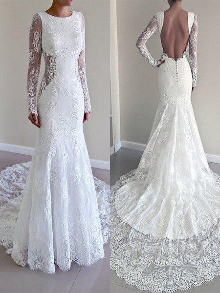 Trumpet/Mermaid Long Sleeves Scoop Court Train Lace Wedding Dresses