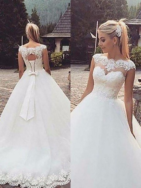 Ball Gown Sleeveless Bateau Court Train Tulle Wedding Dresses