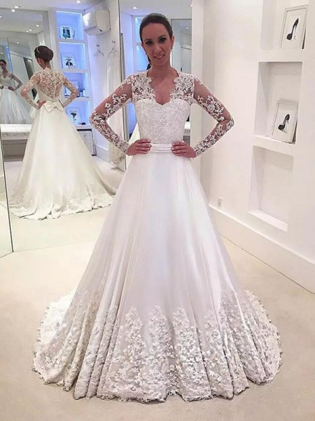 A-Line/Princess Long Sleeves V-neck Sweep/Brush Train Satin Wedding Dresses