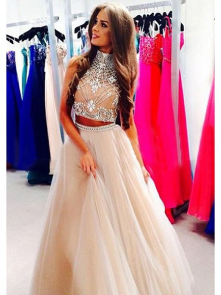 A-Line/Princess Sleeveless High Neck Beading Floor-Length Tulle Two Piece Dresses