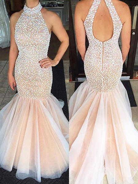 Trumpet/Mermaid Sleeveless Halter Beading Sweep/Brush Train Tulle Dresses