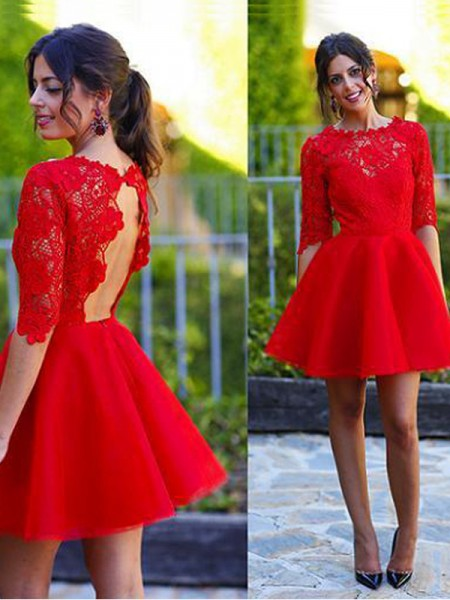 A-Line/Princess 1/2 Sleeves Scoop Lace Short/Mini Lace Dresses