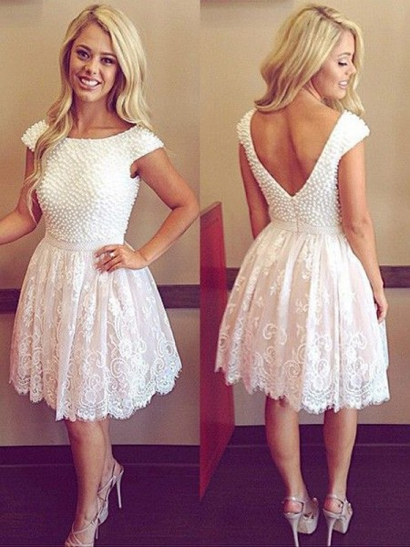 A-Line/Princess Short Sleeves Scoop Pearls Short/Mini Lace Dresses
