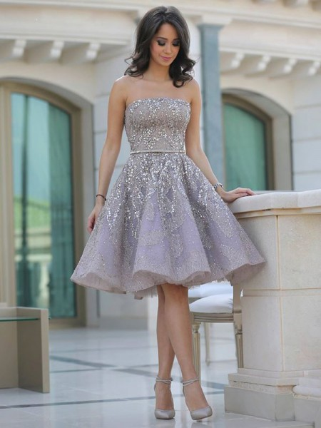 A-Line/Princess Sleeveless Strapless Sequin Knee-Length Satin Dresses