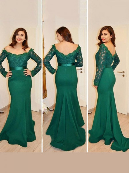 Trumpet/Mermaid Long Sleeves Off-the-Shoulder Applique Floor-Length Satin Dresses