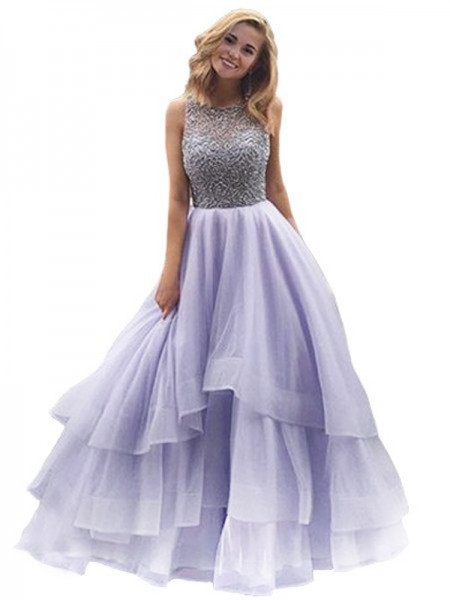 Ball Gown Sleeveless Scoop Beading Floor-Length Organza Dresses