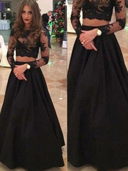 A-Line/Princess Long Sleeves Scoop Lace Floor-Length Lace Dresses