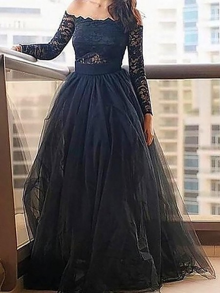 A-Line/Princess Long Sleeves Off-the-Shoulder Lace Floor-Length Tulle Dresses