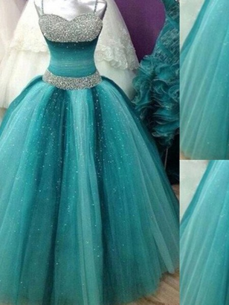 Ball Gown Sleeveless Spaghetti Straps Beading Floor-Length Tulle Dresses