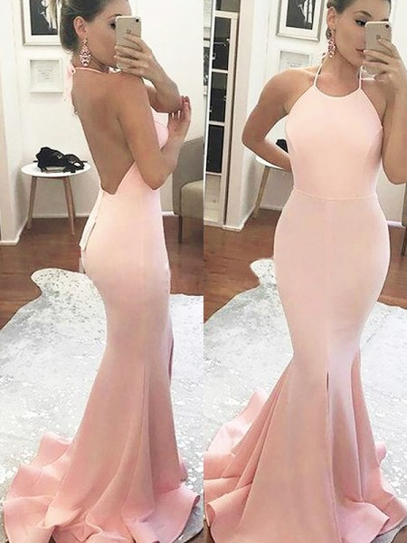 Trumpet/Mermaid Sleeveless Halter Sweep/Brush Train Satin Dresses