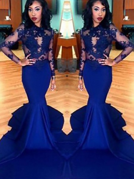 Trumpet/Mermaid Long Sleeves Scoop Lace Sweep/Brush Train Satin Dresses