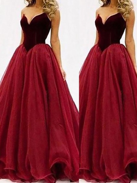 Ball Gown Sleeveless Sweetheart Floor-Length Tulle Dresses
