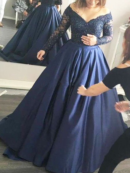 Ball Gown Long Sleeves Off-the-Shoulder Beading Sweep/Brush Train Satin Dresses