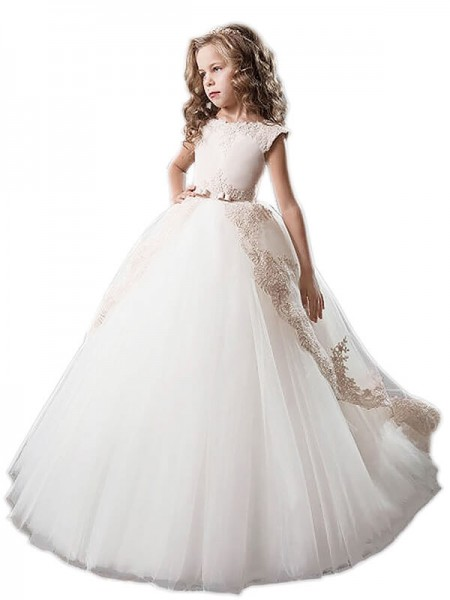 Ball Gown Sleeveless Scoop Applique Floor-Length Tulle Flower Girl Dresses