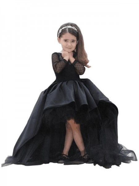 Ball Gown Long Sleeves Scoop Sash/Ribbon/Belt Floor-Length Satin Flower Girl Dresses