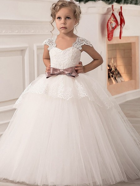 Ball Gown Sleeveless Straps Sash/Ribbon/Belt Floor-Length Tulle Flower Girl Dresses