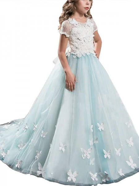 A-Line/Princess Short Sleeves Scoop Lace Floor-Length Tulle Flower Girl Dresses