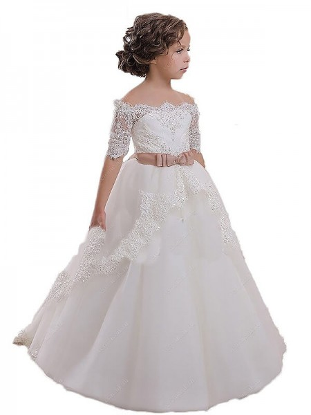 Ball Gown Short Sleeves Off-the-Shoulder Sash/Ribbon/Belt Sweep/Brush Train Tulle Flower Girl Dresses