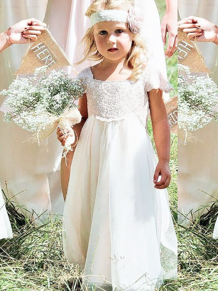 A-Line/Princess Short Sleeves Square Lace Floor-Length Chiffon Flower Girl Dresses