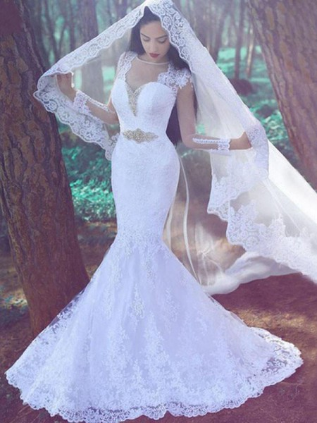 Trumpet/Mermaid Long Sleeves Sweetheart Applique Court Train Lace Wedding Dresses