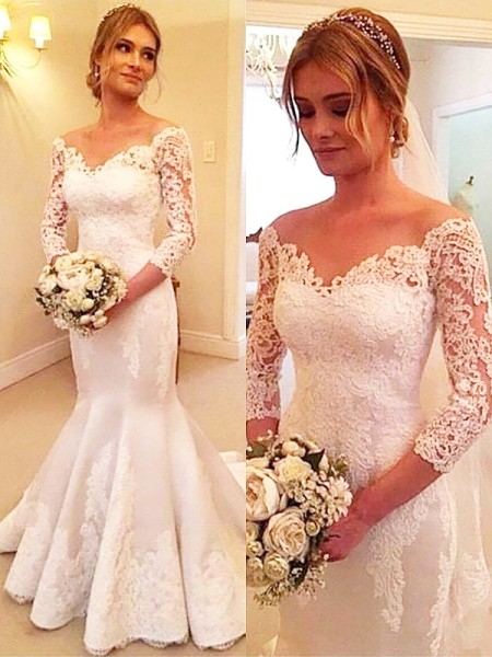 Trumpet/Mermaid 3/4 Sleeves Off-the-Shoulder Court Train Satin Wedding Dresses