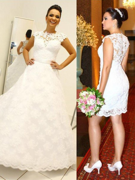 Ball Gown Sleeveless Scoop Floor-Length Lace Wedding Dresses