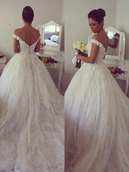 Ball Gown Sleeveless Off-the-Shoulder Court Train Lace Wedding Dresses