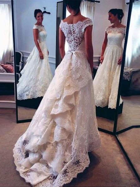 A-Line/Princess Sleeveless Scoop Court Train Lace Wedding Dresses