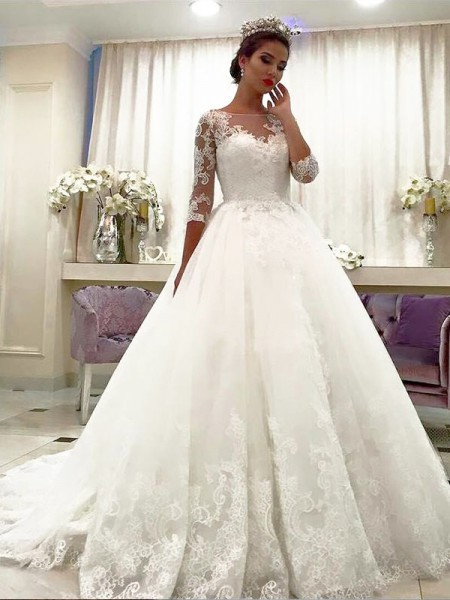 Ball Gown 3/4 Sleeves Bateau Court Train Tulle Wedding Dresses