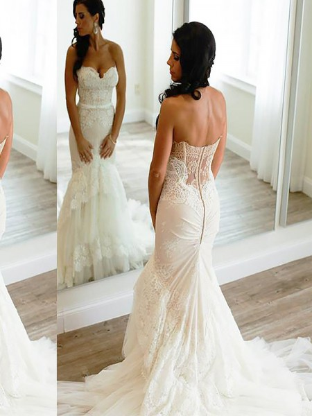 Trumpet/Mermaid Sleeveless Sweetheart Court Train Tulle Wedding Dresses