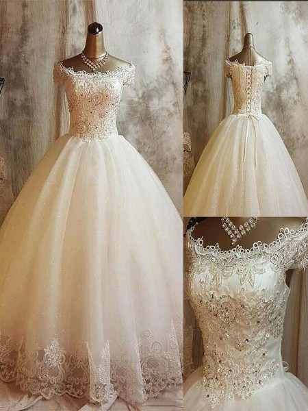 Ball Gown Sleeveless Off-the-Shoulder Applique Sweep/Brush Train Tulle Wedding Dresses