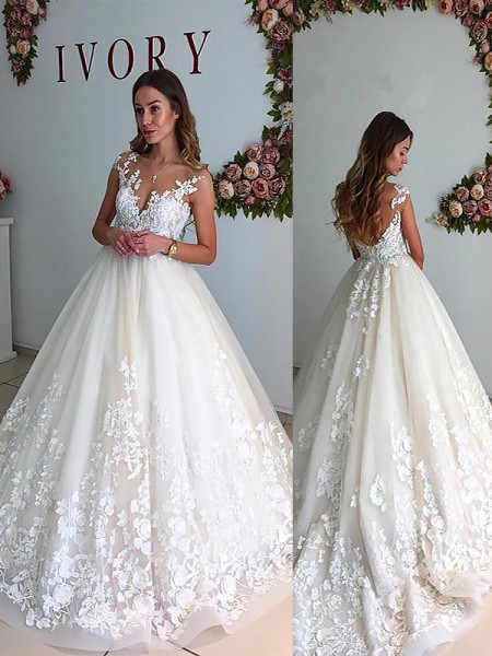 A-Line/Princess Sleeveless V-neck Court Train Tulle Wedding Dresses
